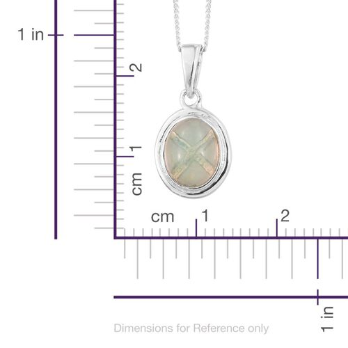 Ethiopian Welo Opal (Ovl) Solitaire Pendant With Chain in Platinum Overlay Sterling Silver 1.000 Ct.