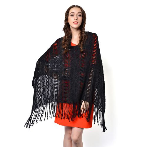 Black Colour Knitted Poncho with Tassels (Free Size)