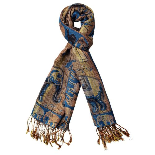Gold and Multi Colour Elephant Pattern Blue Colour Scarf with Tassels (Size 170x70 Cm)