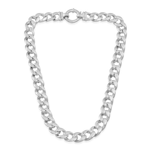 (Option 1) Statement Collection Sterling Silver Curb Necklace (Size 20), Silver wt 58.05 Gms.