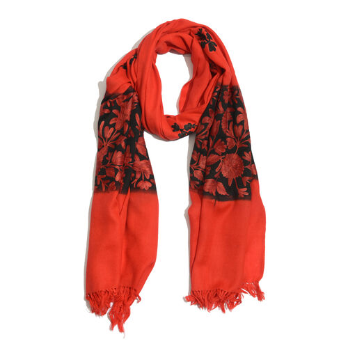 Super Fine 100% Merino Wool Leaves Embroiderd Red and Black Colour Scarf (Size 190x70 Cm)