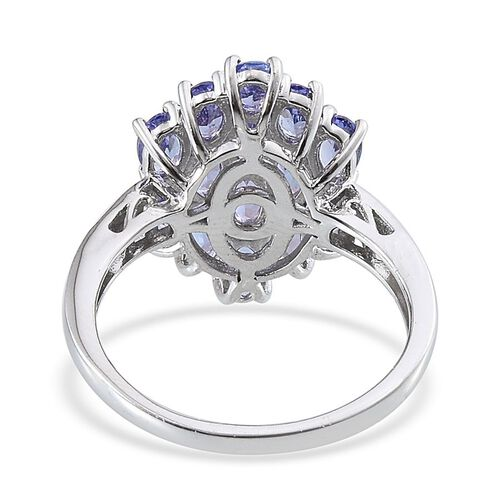 Tanzanite (Ovl) Cluster Ring in Platinum Overlay Sterling Silver 3.000 Ct.