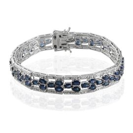 Kanchanaburi Blue Sapphire (Ovl), Diamond Bracelet in Platinum Overlay Sterling Silver (Size 8.25) 15.100 Ct.