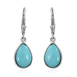 Sonoran Turquoise (Pear) Lever Back Earrings in Platinum Overlay Sterling Silver 5.000 Ct.