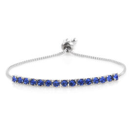 J Francis Crystal From Swarovski - Sapphire Colour Crystal (Rnd) Adjustable Bracelet (Size 7.5) in ION Plated Platinum Bond
