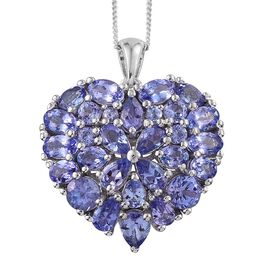 Limited Edition-Tanzanite (Rnd) Heart Pendant With Chain (Size 30) in Platinum Overlay Sterling Silver 5.750 Ct.