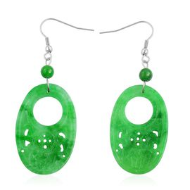 Green Jade Hook Earrings in Hypoallergenic Stainless Steel 40.500 Ct.