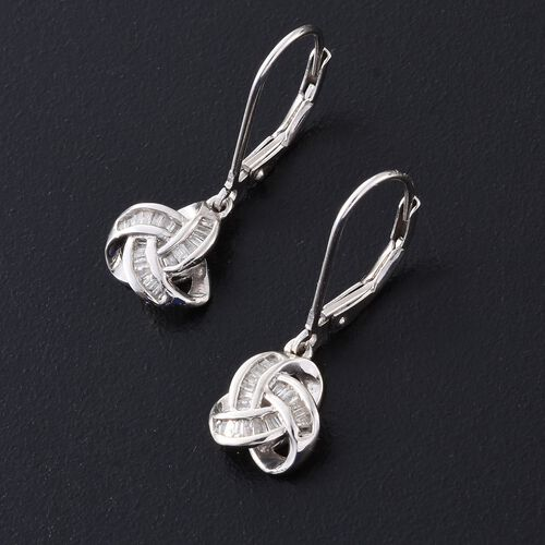 Diamond (Bgt) Triple Knot Lever Back Earrings in Platinum Overlay Sterling Silver 0.250 Ct.