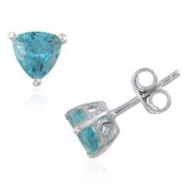 Paraibe Apatite (Trl) Stud Earrings (with Push Back) in Platinum Overlay Sterling Silver 1.250 Ct.