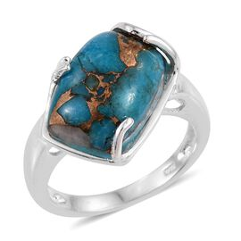 Mojave Blue Turquoise (Cush) Solitaire Ring in Sterling Silver 5.500 Ct.