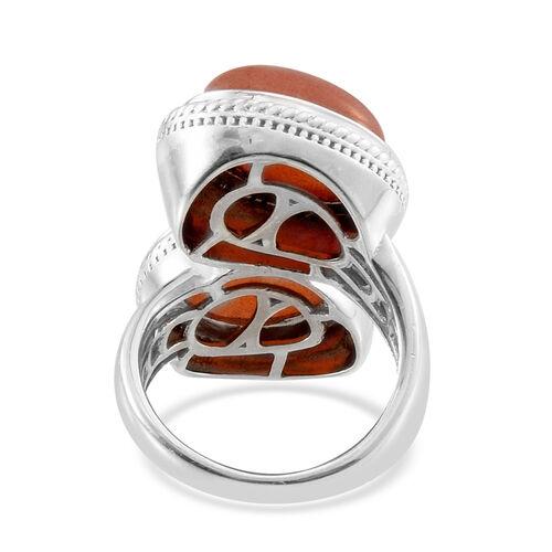 Morogoro Peach Sunstone (Ovl) Ring in Platinum Overlay Sterling Silver 11.500 Ct.