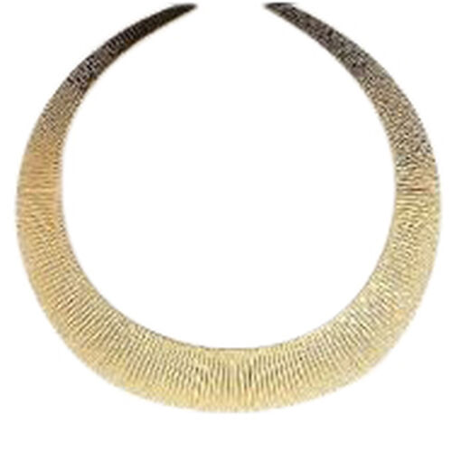 Italian Designer Inspired Yellow Gold Overlay Sterling Silver Cleopatra Necklace (Size 17), Silver wt 41.00 Gms.