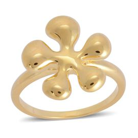 LucyQ Raised Splat Ring in Yellow Gold Overlay Sterling Silver 5.46 Gms.