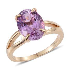 ILIANA 18K Y Gold AAAA Urucum Kunzite (Ovl) Solitaire Ring 7.750 Ct.