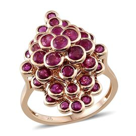 Raindrop Collection 9K Y Gold AAA Burmese Ruby (Rnd) Cluster Ring 5.000 Ct. (Min. Gold Wt. 6.5 gram)