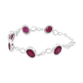 AAA African Ruby (Ovl) Bracelet (Size 7.5 with Extender) in Rhodium Plated Sterling Silver 16.500 Ct.