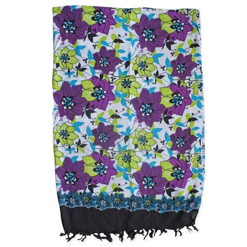 100% Rayon White, Green and Multi Colour Flower Pattern White Colour Scarf (Size 160x110 Cm)