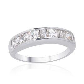 J Francis - Platinum Overlay Sterling Silver (Sqr) Half Eternity Band Ring Made with SWAROVSKI ZIRCONIA 2.110 Ct.