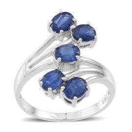 9K W Gold Kanchanaburi Blue Sapphire (Ovl) 5 Stone Crossover Ring 2.250 Ct.