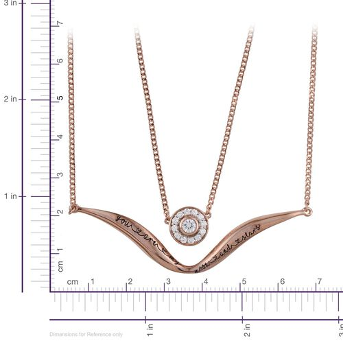 Kimberley A Wish From Me Collection Natural Cambodian Zircon (Rnd) Necklace (Size 18) and Pendant in Rose Gold Overlay Sterling Silver 0.500 Ct.