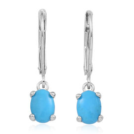 Arizona Sleeping Beauty Turquoise (Ovl) Lever Back Earrings in Rhodium Plated Sterling Silver 1.000 Ct.