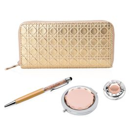 Set of 4 - Golden Colour Ladies Purse, Simulated Champagne Diamond Filled Ball Pen (Black Ink), White Austrian Crystal Studded Bag Hook and Compact Mirror