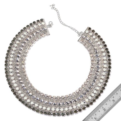 White and Grey Austrian Crystal, Simulated Stones Necklace (Size 18 with 2 inch Extender) in Silver Tone