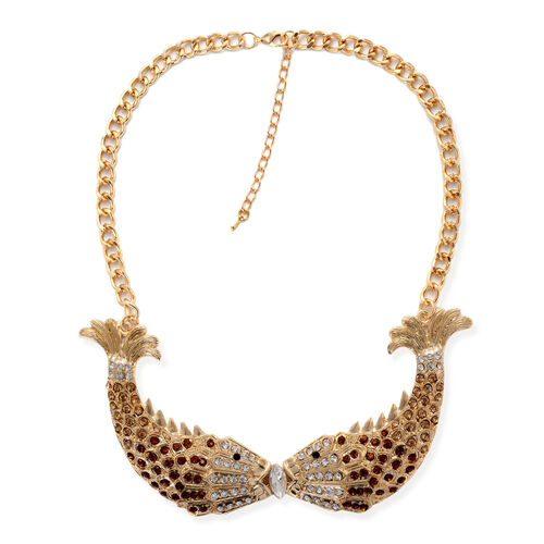 Simulated White Diamond, Champagne and Multi Colour Austrian Crystal Fish Shape Necklace (Size 20) in Gold Tone