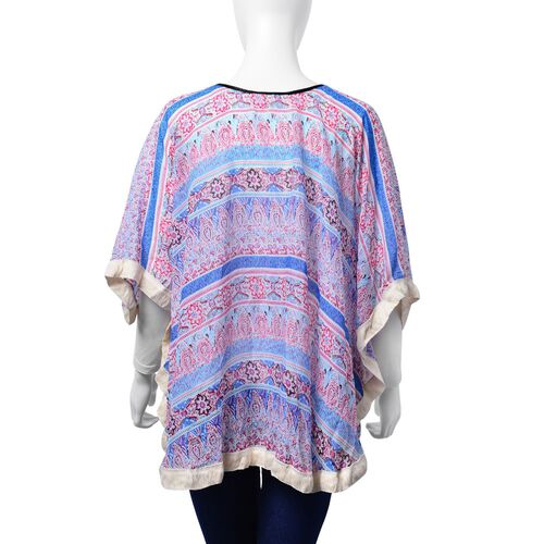 Floral and Paisley Pattern Blue, Pink and Multi Colour Poncho (Free Size)