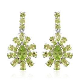 AA Hebei Peridot (Pear) Earrings (with Push Back) in Platinum Overlay Sterling Silver 7.000 Ct.