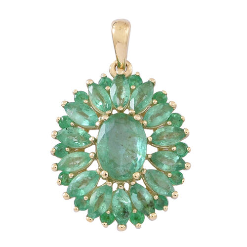 9K Y Gold AAA Kagem Zambian Emerald (Ovl) Floral Pendant 2.000 Ct.