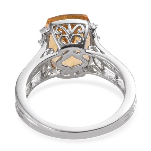 Citrine (Cush 6.20 Ct), White Topaz Ring in Platinum Overlay Sterling Silver 6.250 Ct.