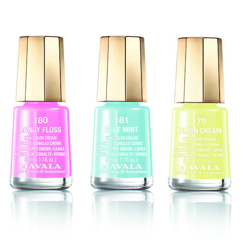 MAVALA- Trio Nail Polish Set-Sorbet Delight- 179 Lemon Cream, 180 Candy Floss, 181 Blue Mint