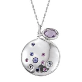 Kimberley Rose De France Amethyst (Ovl), Tanzanite, Espirato Santo Aquamarine and Pink Sapphire Pendant With Chain in Platinum Overlay Sterling Silver