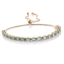 9K Yellow Gold 4 Carat Boyaca Colombian Emerald Adjustable Bracelet (Size 6.5 to 9)