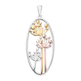 Platinum, Yellow and Rose Gold Overlay Sterling Silver Pendant, Silver wt 4.24 Gms.