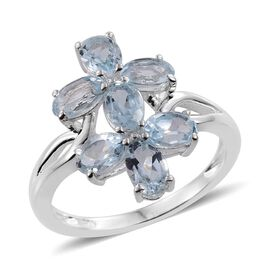 Sky Blue Topaz (Ovl) Twin Floral Ring in Sterling Silver 3.500 Ct.