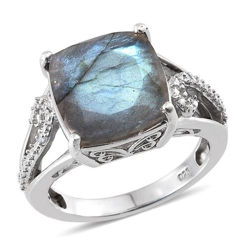 Labradorite (Cush 6.25 Ct), Diamond Ring in Platinum Overlay Sterling Silver 6.260 Ct.