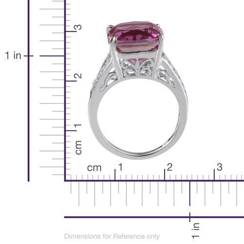 Kunzite Colour Quartz (Cush 8.75 Ct), White Topaz Ring in Platinum Overlay Sterling Silver 9.250 Ct.