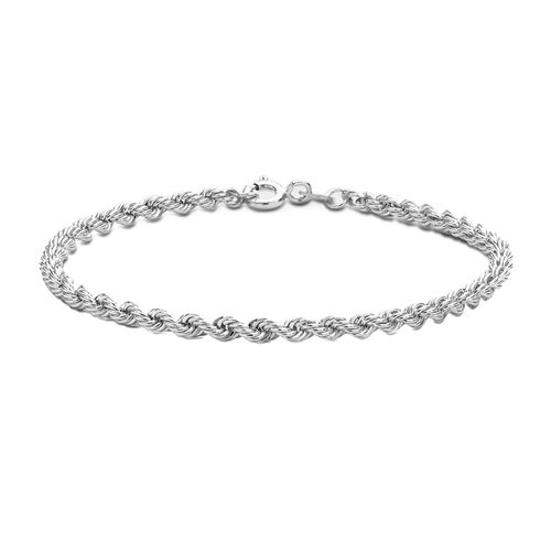Vicenza Collection Rhodium Plated Sterling Silver Rope Bracelet (Size 7.25), Silver wt 4.10 Gms.