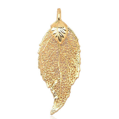 Real Evergreen Leaf Pendant (Size 4.5 - 5 Cm) Dipped in 24K Yellow Gold