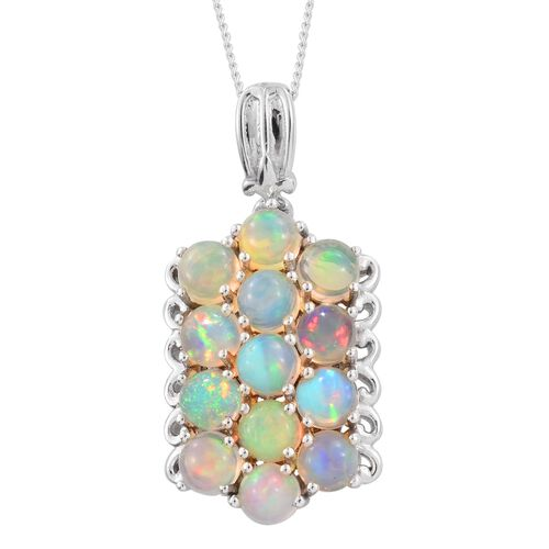Ethiopian Welo Opal (Rnd) Pendant With Chain (Size 18) in Platinum Overlay Sterling Silver 2.500 Ct.