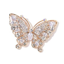 AAA Simulated White Diamond and White Austrian Crystal Butterfly Brooch in Yellow Gold Tone