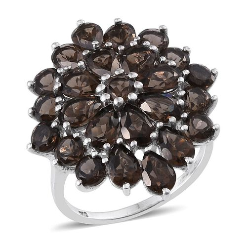 Brazilian Smoky Quartz (Pear) Cluster Ring in Platinum Overlay Sterling Silver 8.250 Ct.
