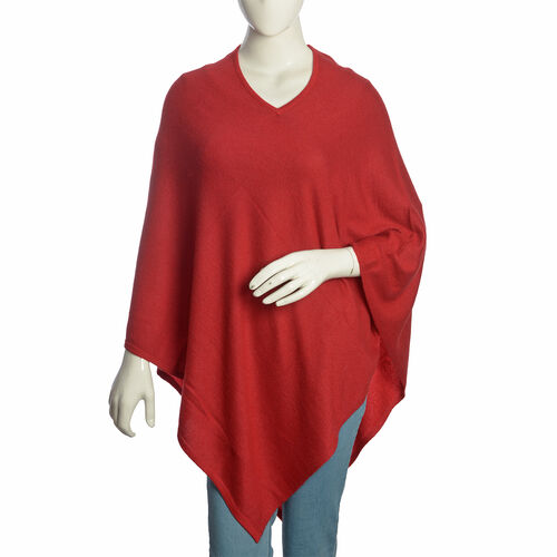 100% Very Rare Pashmina Wool Designer Inspired Womens Poncho in Burgundy Colour (Free Size)