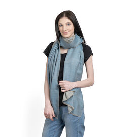 100% Cashmere Wool Dark Aqua and Blue Colour Reversible Scarf (Size 200x70 Cm)