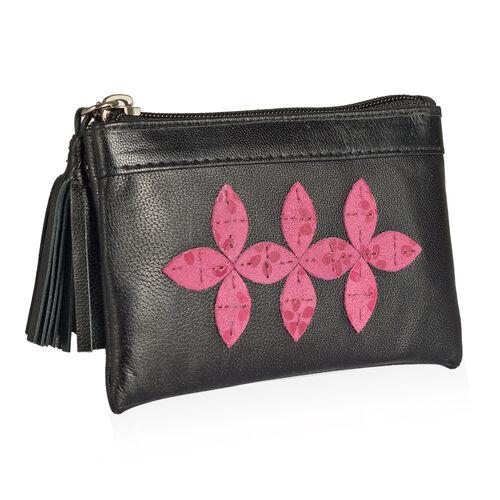 Genuine Leather Fuchsia Colour Floral Pattern RFID Blocker Black Colour Ladies Wallet with Tassels (Size 13x8x0.5 Cm)