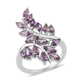 AAA Simulated Amethyst (Mrq) Leaves Crossover Ring in ION Plated Platinum Bond