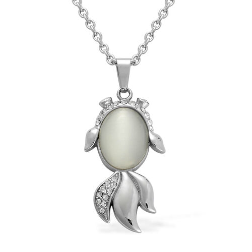 Creature Couture - Simulated White Cats Eye and Austrian Crystal Fish Pendant With Chain in Stainless Steel