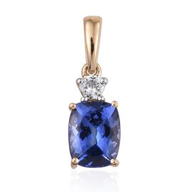 ILIANA 18K Yellow Gold 1.75 Carat AAA Tanzanite Cushion Pendant with Diamond SI G-H.